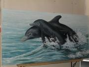 tableau marine dauphins mer vague eau : Liberté 2