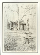 dessin litho paysage dessin crayon : Cabane à sucre