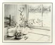dessin nature morte nature morte fenetre interieur dessin : Pot de cerise à la fenêtre