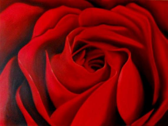 TABLEAU PEINTURE fleur rose rouge gros plan Fleurs Peinture a l'huile  - Rouge passion