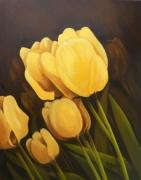 tableau fleurs fleur jaune tulipe gros plan : Jalousie