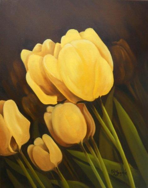 TABLEAU PEINTURE fleur jaune tulipe gros plan Fleurs Peinture a l'huile  - Jalousie