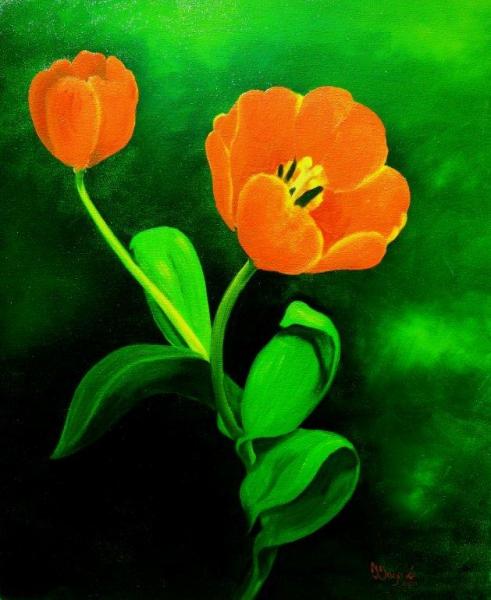 TABLEAU PEINTURE fleur vert tulipe gros plan Fleurs Peinture a l'huile  - Clair obscure