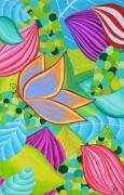 tableau fleurs papillon feuille plante butterfly : Le Papillon I