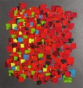 tableau abstrait rouge abstrait formes : Couleur domino