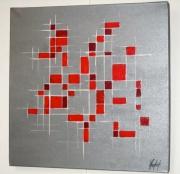 tableau abstrait gris abstrait dominos : TOUCHES DE COULEUR