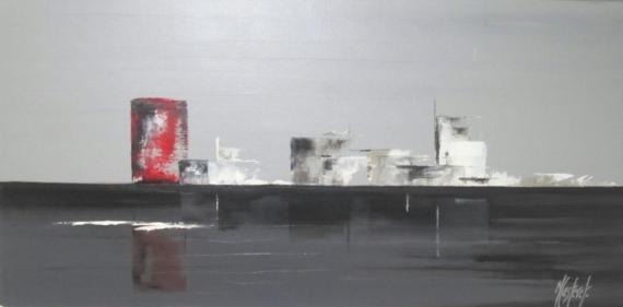 """TABLEAU PEINTURE abstrait gris contemporain reflets Marine Peinture a l'huile  - """"Vice et versa"""""""