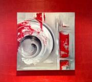 tableau abstrait spirales gris rouge : Spirales