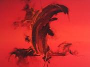 tableau abstrait mer rouge abstrait : En mer