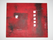 tableau abstrait abstrait rouge formes carrees : Jeu de formes