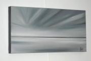 tableau marine mer horizon gris abstrait : RAYONS BLANCS