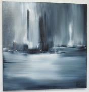 tableau abstrait gris horizon abstrait mer : LOINTAIN