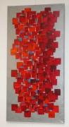 tableau abstrait rouge dominos couleur abstrait : COLONNE DE DOMINOS