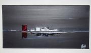 tableau marine gris noir mer horizon : LE POINT ROUGE