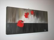 """tableau fleurs rouge coquelicot : """"Trio de coquelicots"""""""