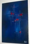 tableau abstrait bleu abstrait : DAMIER
