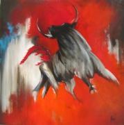 tableau animaux taureau rouge : Torréador
