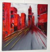 tableau architecture ville new york rouge architecture : LUMIERE SUR LA VILLE