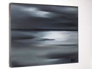 tableau marine mer horizon gris : REFLETS BLANCS