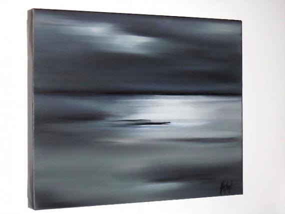 TABLEAU PEINTURE MER HORIZON GRIS Marine Peinture a l'huile  - REFLETS BLANCS