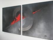 tableau abstrait rouge noir moderne : elipse