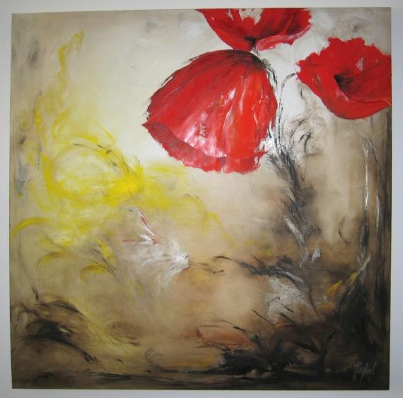 TABLEAU PEINTURE coquelicot contemporain abstrait Fleurs Peinture a l'huile  - Coquelicot en lumière