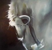 tableau animaux taureau abstrait combat beige : LE COMBAT