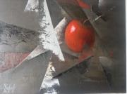 """tableau nature morte pomme rouge nature morte : """"la pomme cachée"""""""