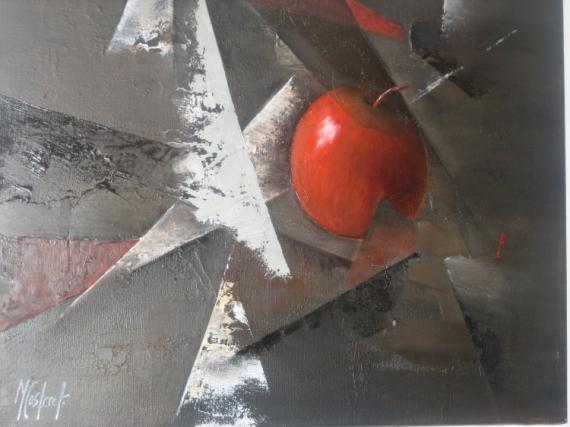 """TABLEAU PEINTURE pomme rouge nature morte Nature morte Peinture a l'huile  - """"la pomme cachée"""""""