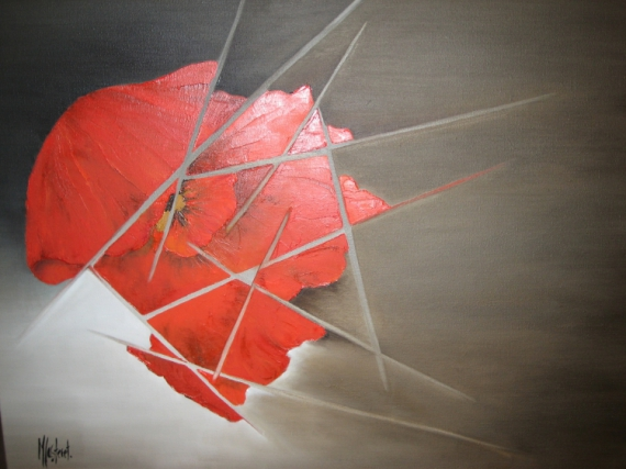 TABLEAU PEINTURE peinture abstraite coquelicot rouge contemporain Abstrait Peinture a l'huile  - Coquelicot brisé