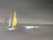 tableau marine voiles bateaux noir horizon : Course en mer
