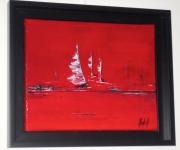 tableau marine bateaux mer rouge horizon : ROUGE REGATE