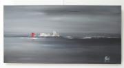tableau marine mer horizon gris abstrait : Plénitude