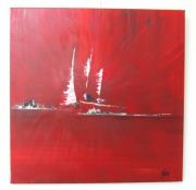 tableau marine bateaux rouge abstrait contemporain : Trio de voiles