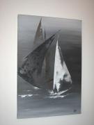 tableau marine voiles bateaux mer gris : Jeu de voiles