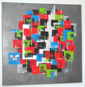 "tableau abstrait abstrait moderne rouge : ""Superpositions"""
