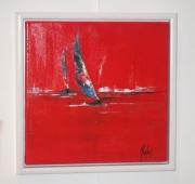 tableau marine mer bateaux rouge : Voiles en mer