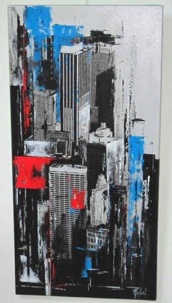 """TABLEAU PEINTURE new york bleu contemporain moderne Architecture Acrylique  - """"New York"""""""