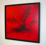 tableau marine rouge voiles bateaux : VOILES ROUGES