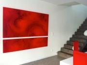 tableau abstrait rouge abstrait : Eclats de rouge