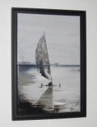 tableau marine char ,a voile mer gris : Glisse sur le sable