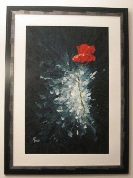 TABLEAU PEINTURE coquelicot noir peinture abstraite rouge Fleurs Peinture a l'huile  - la fleur coupée