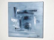 tableau abstrait gris blanc abstrait : Vibrations en noir et blanc
