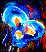 tableau fleurs : Flash flowers bleu