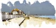 digital art marine berniere sur mer mer plage basse normandie : Bernière sur Mer
