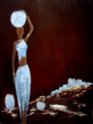 tableau scene de genre femme africaine village cruches : Femme africaine Porteuse d'eau
