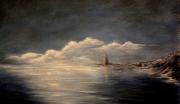 tableau marine mer phare coucher de soleil bretagne : Soleil couchant sur la mer