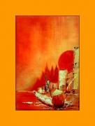 tableau personnages pecheur japon soleil rouge eau : Le choc des cultures