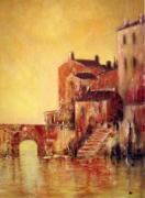 tableau paysages maisons soleil couchant eaupont imaginaire : La ville au couchant