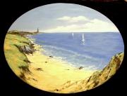 tableau marine bretagne bord de mer dunes bateaux : Marine
